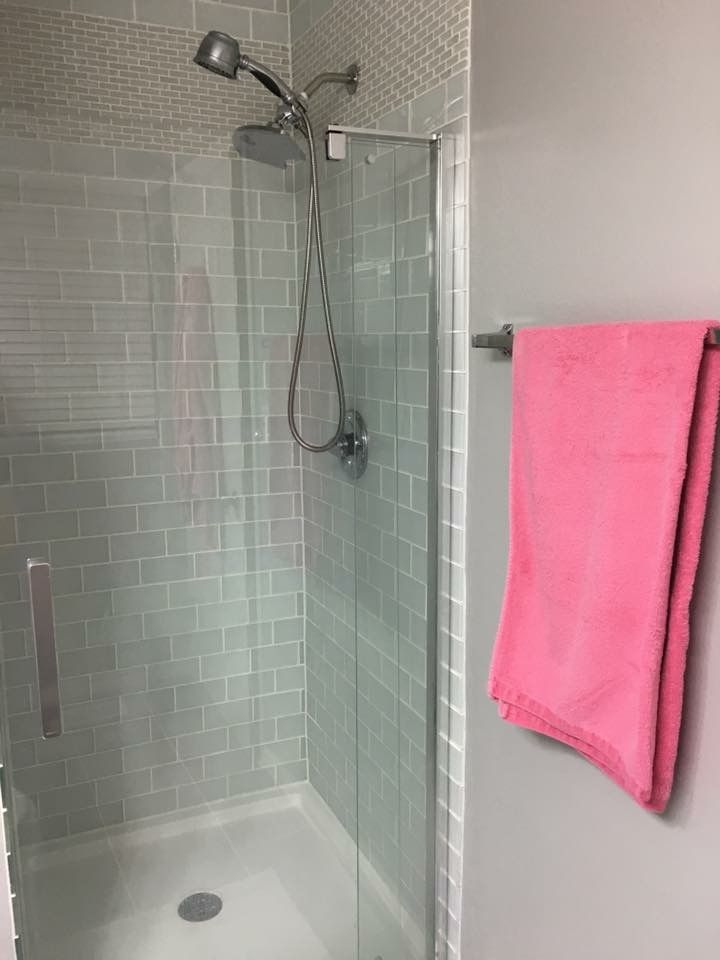 White glass tile shower picture.