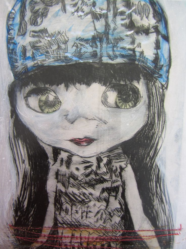 'Girl in the hat'. Drypoint Etching