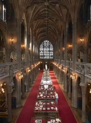 John Rylands Library in Manchester, England. It's a Victorian Gothic building and holds many illuminated manuscripts including a copy of the Gutenberg Bible.