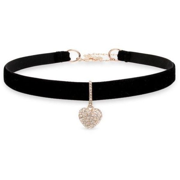 Betsey Johnson  Rose Gold-Tone Pave Heart Charm Black Choker Necklace (£25) ❤ liked on Polyvore featuring jewelry, necklaces, accessories, choker, black, pave heart necklace, heart charm necklace, crystal heart necklace, heart necklace and long necklaces