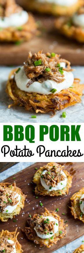 Potato Latkes with Barbecue Pulled Pork! Crispy potato pancakes, shredded pork, and a sour cream and scallion topping. via @culinaryhill