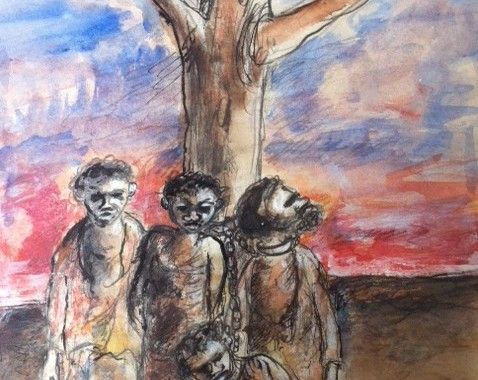 Yosl Bergner (b1920). Prisoners, Aborigines chained to a tree.  Mixed-Media