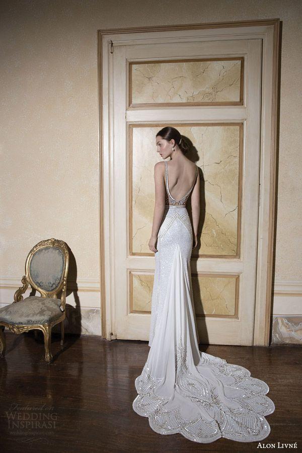 alon livne wedding dress 2015 white bridal rachel illusion neckline bodice wedding dress sheath silhouette back view scalloped train