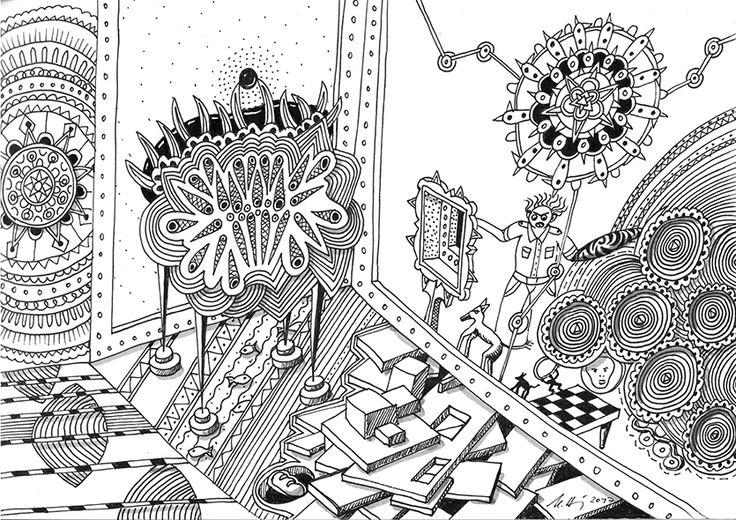 """""""crazy interior"""", #Zeichnung #Pigmenttusche (Staedtler Pigment Fineliner) auf #Hahnemühle #Papier """"Nostalgie"""", 190 g/m2 21 x 29,7 cm, © #matthias #hennig 2017    """"crazy interior"""", #india #ink #drawing (Staedtler Pigment Fineliner) on Hahnemühle #paper """"Nostalgie"""",190 g/sqm 21 x 29,7cm, © #matthias #hennig 2017 #myStaedtler #hennigdesign #artwork #moremoneyforartists #unexpected"""