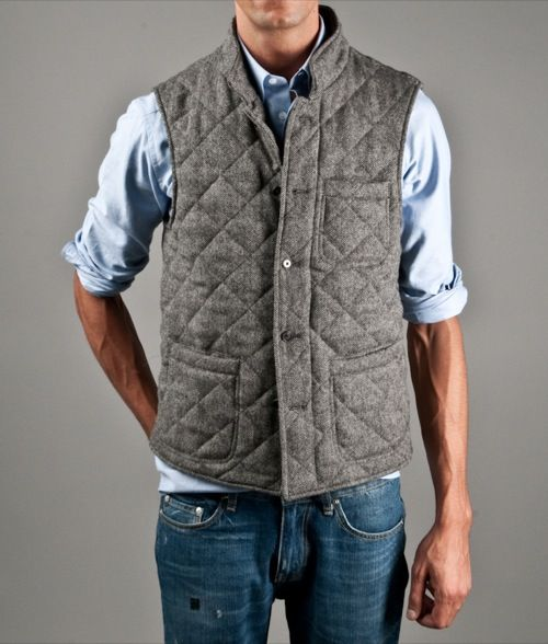 Kitsuné Quilted Herringbone Vest | Por Homme - Men's Lifestyle, Fashion, Footwear and Culture Magazine