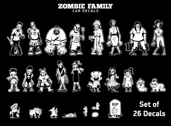 Zombie Family Car Decals Thinkgeek Zombies Family Car