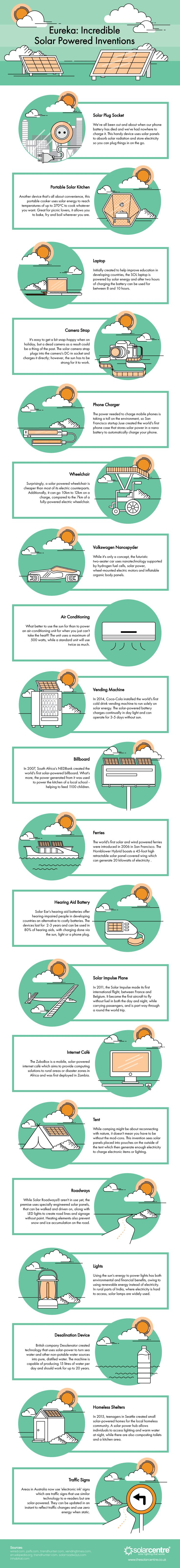Eureka: Incredible Solar Powered Inventions #Infographic #Energy #Technology