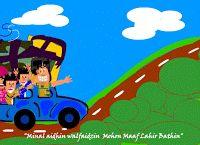 kartu ucapan idul fitri animasi kartun mudik naik mobil