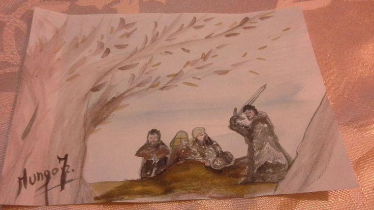 NO ACEO . 11,05 X 15,05 cm.Game of thrones.  Watercolour original .f.mungo