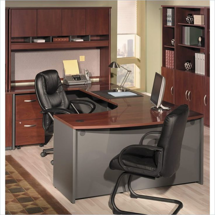 bush business series c 4piece ushape office desk in hansen cherry - Bush Office Furniture