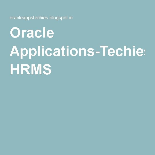 Oracle Applications-Techies: HRMS