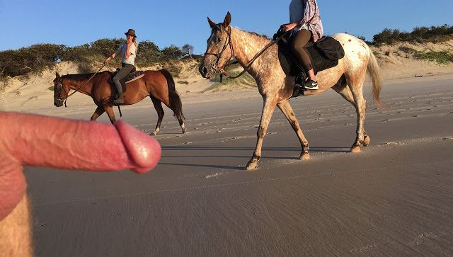 Public beach CFNM - horseriders accept it in their stride...