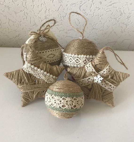 Set von 5 Bindfäden Ornamente für rustikale Weihnachten Dekor Land Land Weihnachten Dekoration Housewarming Geschenk Stern Ornament Bauernhaus Xmas Dekor