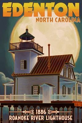 Edenton, North Carolina - Lighthouse and Moon - Roanoke River Lighthouse - Lantern Press Poster