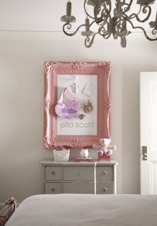 Frame Sweet Girl S Bedroom With Pink Rococo Frame Pin Board Gray Vintage Chest And Soft