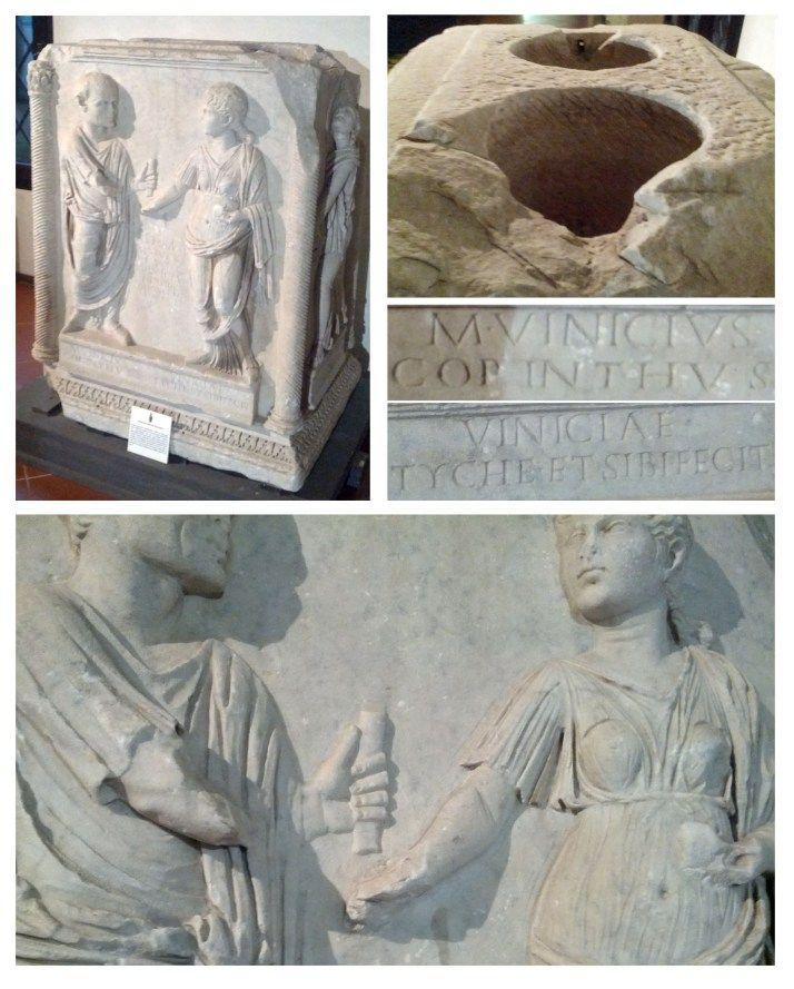 Firenze, Museo Archeologico Nazionale di Firenze: San Valentino al museo altare funerario con scena di dextrarum iunctio, età augustea