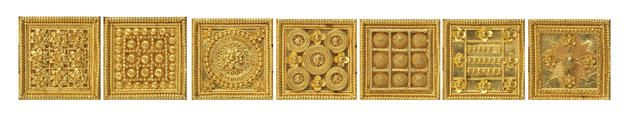 An archeological revival gold bracelet, by Melillo, 1899.Estimate£15,000 – 20,000 (€19,000 – 25,000).Photo Bonhams Composed of nine panels, seven square and two semi-circular, each o…