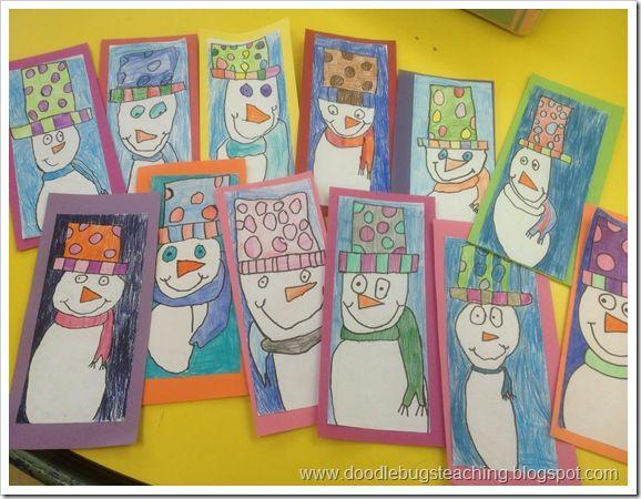 Snowmen-Directed Art Lesson