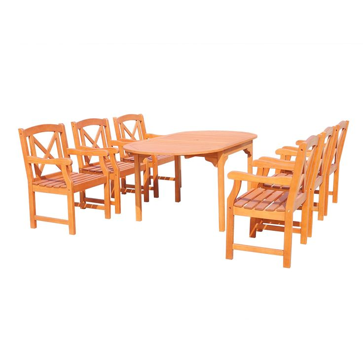 Malibu 7pc Oval Hardwood Outdoor Eco-friendly Patio Dining Set - Brown - Vifah, Urban Safari Tan