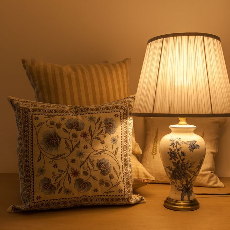 Blue Floral Lamps and Set Pillow Cases - Sepia shades @ Chic Ville