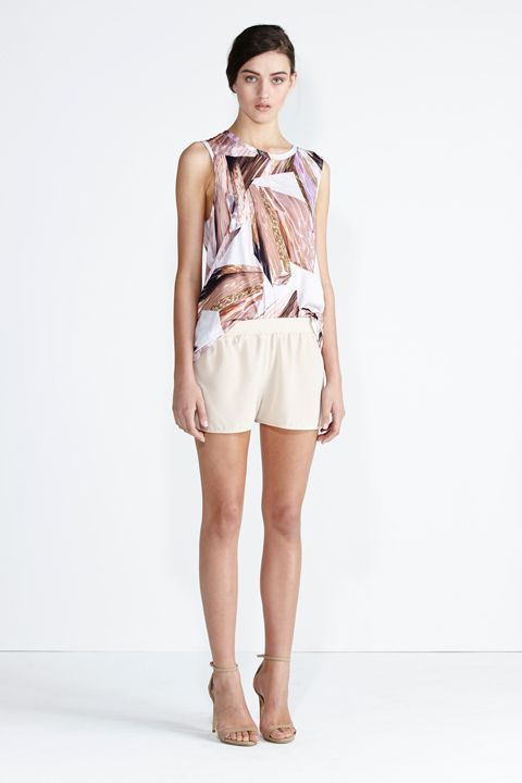 Secret South SS13/14 collection.  Lorikeet Top in Glacier Organic Cotton, Seabreeze Short in Blush Silk. www.secretsouth.com.au