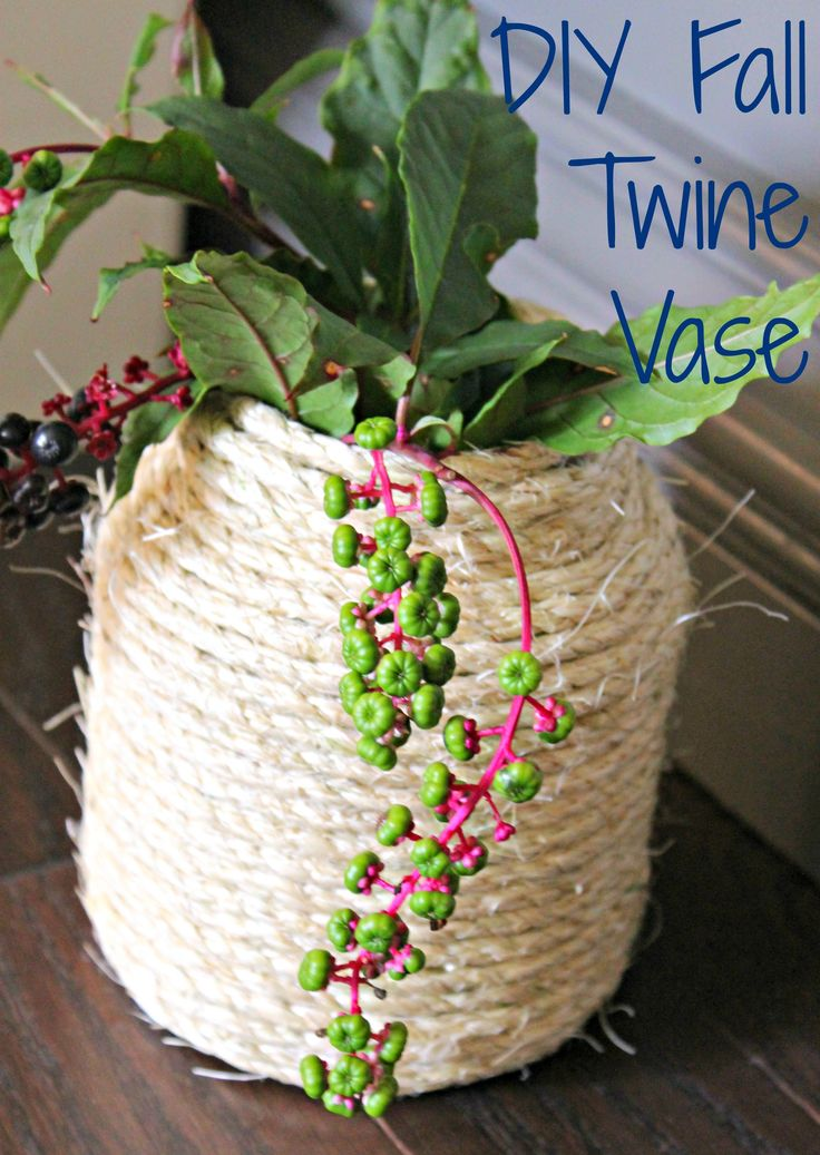 DIY Fall Twine Vase - so cheap and easy