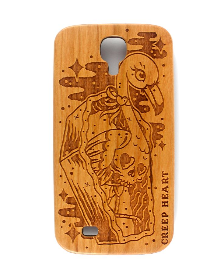Horror Mingo Wood Phone Case for Samsung Galaxy S4.  Available online from the Creep Heart store (www.creepheart.com.au).   Artwork by Ella Mobbs.   Laser etching by Vector Etch (http://www.vectoretch.com.au/).