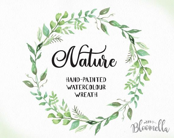 watercolour leaf wreath clipart nature hand painted leaves
