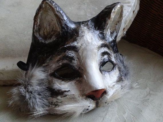 Paper mache white and black cat mask cat costume by MiesmesaBerni