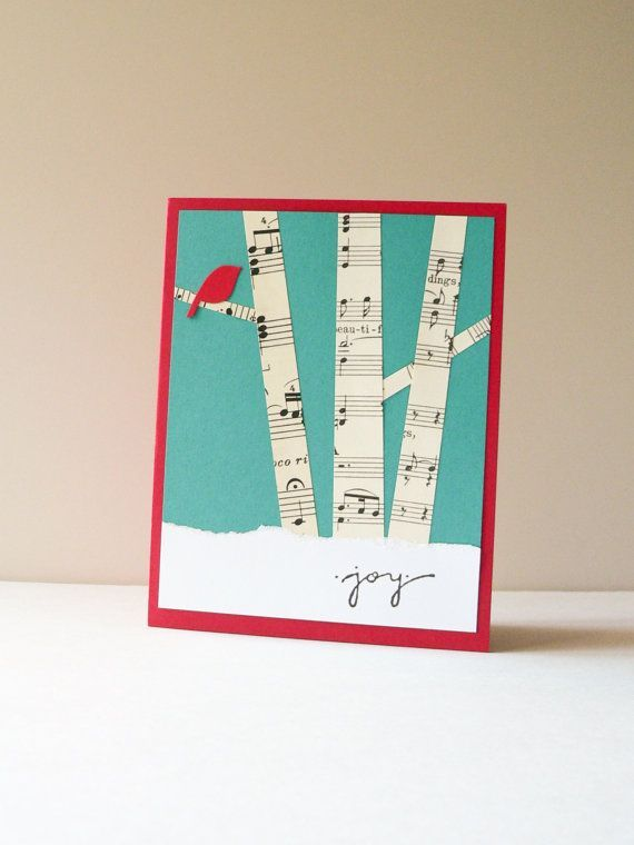 Christmas Card - Handmade Card - Holiday Greeting Card - Birch trees, winter forest, red bird, vintage music, snow on Etsy, $4.75: