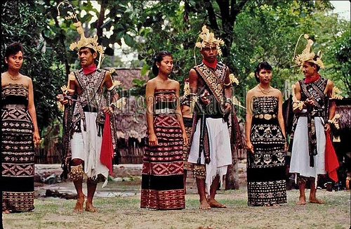 Indonesia, sawu (Seba) Island natives in ikat costumes performing traditional dances