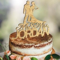 personalised acrylic surname wedding cake topper - custom made Bride Groom Design