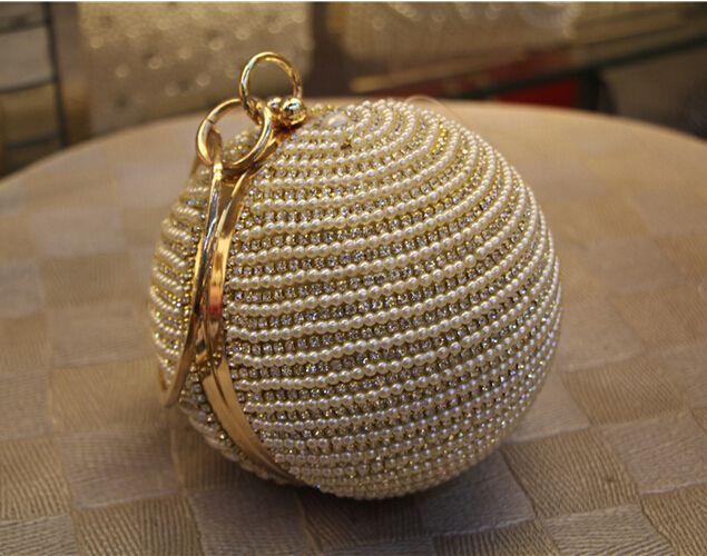 Best Price Women's Pearl Bag Pearl Beaded Diamond Tellurion Evening Bag Bridal Wedding Round Ball Wrist Bag Clutch Purse Handbag