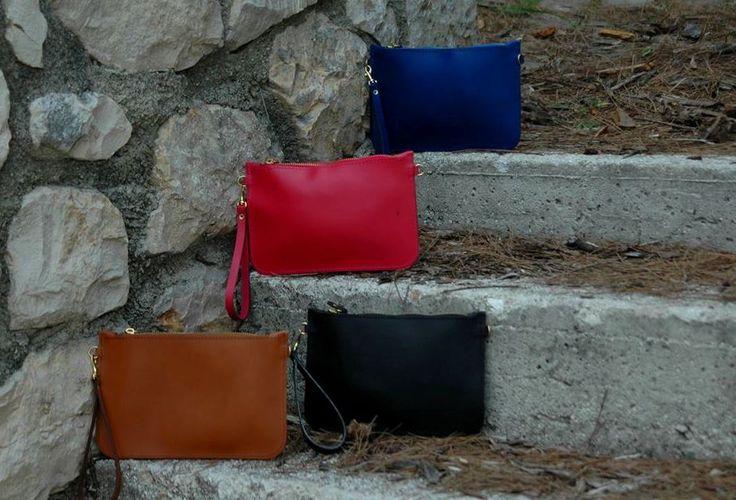 Mini colorful envelopes!! Leather mini envelopes in camel, black, blue & red! #viceversa
