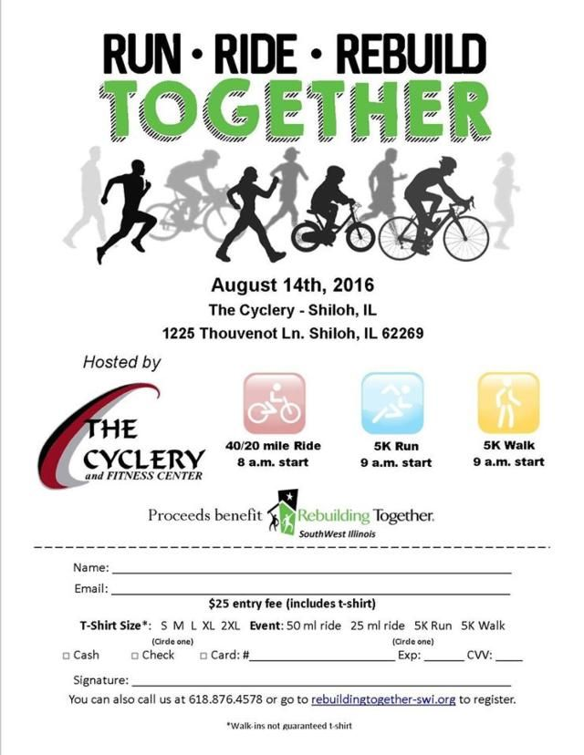"SHILOH – Rebuilding Together SouthWest Illinois is holding its premier ""RunRide-Rebuild Together"" fundraiser on Saturday, August 14,"
