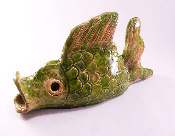 Green fish decor, fish art, fishing decor, home decor, kitchen decor, fisherman gift, ceramic fish, handmade fish, ceramic and pottery by CeramicsNaturalist on Etsy