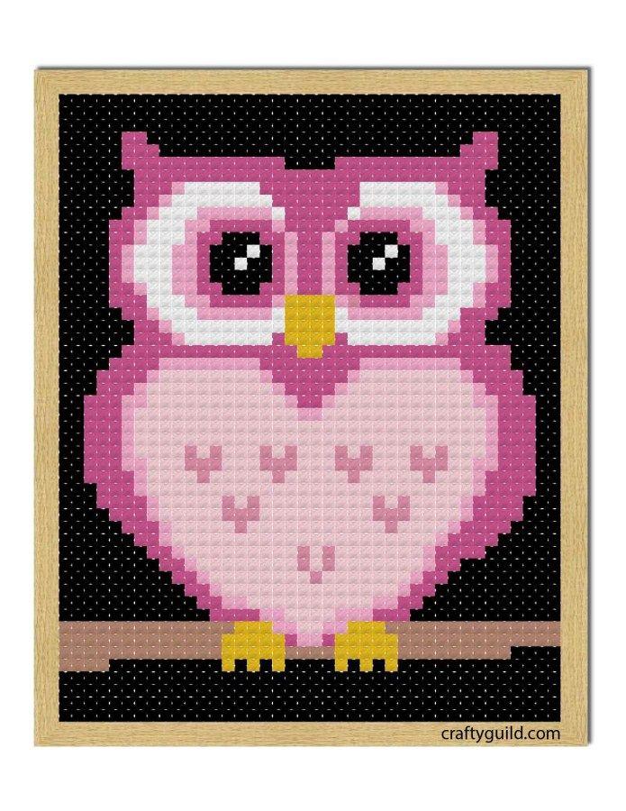 Pink Owl Free Cross Stitch Pattern - Crafty Guild