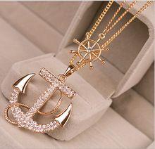 Mulheres Chic strass âncora e colar de cristal colar de cadeia longa camisola 2 cores(China (Mainland))