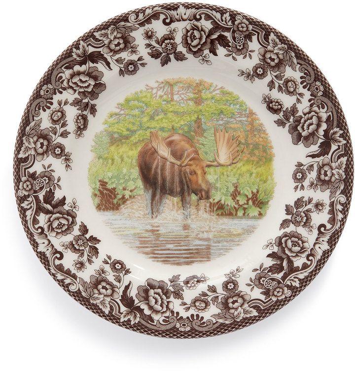 sc 1 st  Pinterest & Woodland Deer Dinner Plates Set of 4 | Moose Dinnerware and Rabbit