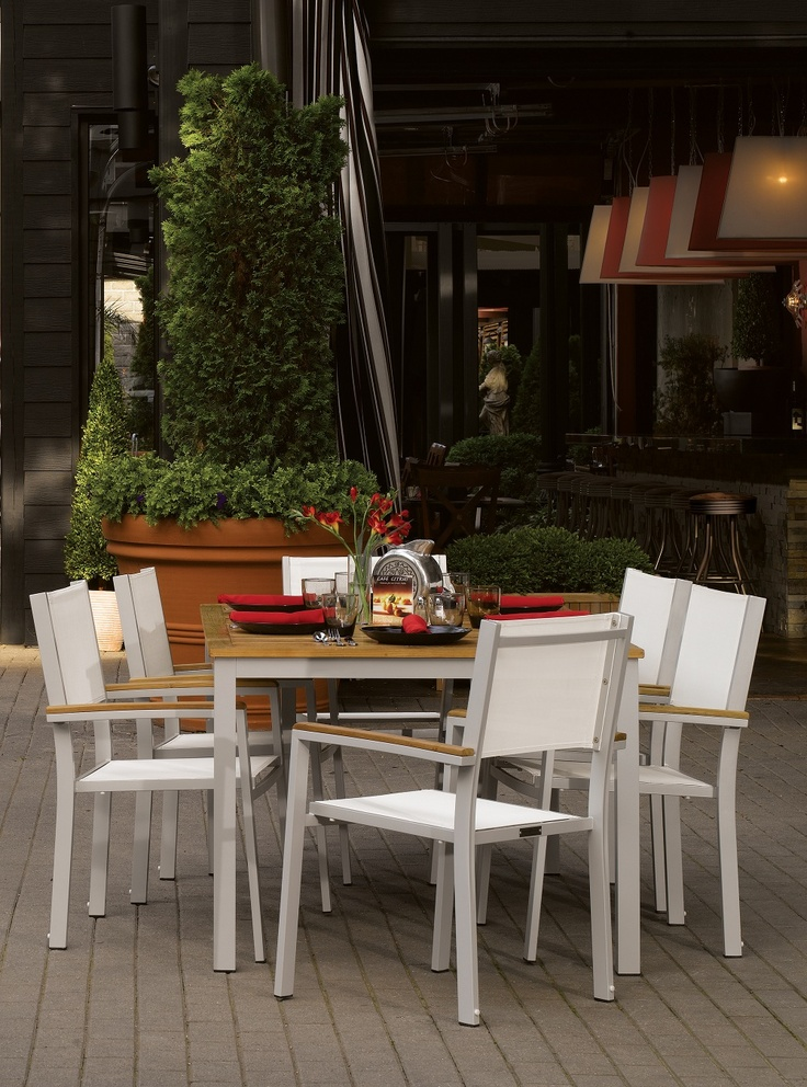 the classic yet sleek look of the travira table makes it suitable for any outdoor dining