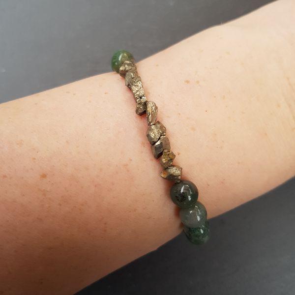 Perlenarmbänder - CRAIGH NA DUN [Armband Moos Achat mit Pyrit] - ein Designerstück von Myrna_Lovecraft bei DaWanda