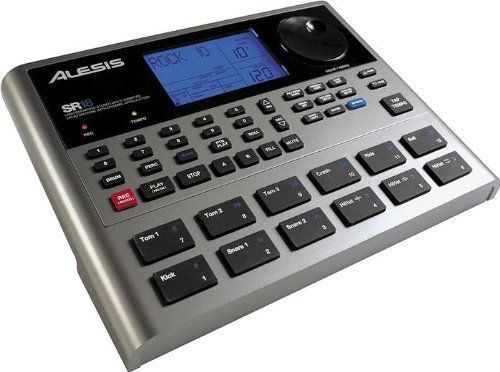 Alesis SR18 Drum Machine by Alesis. $259.00. Large 32MB sound set with percussion bank and bass Over 500 drum and percussion sounds and 50 bass soundsBuilt-in Alesis effects: reverbs EQs and compressionPattern Play Mode enables different patterns to be triggered from the pads directlyProgrammable Drum Roll functionMute/Solo Function: mute drums bass and percussion100 preset patterns 100 user locations12 velocity sensitive padsTap tempo for instant beats exactly as you wan...