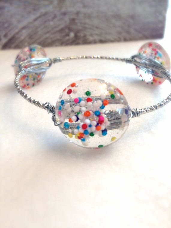 Wire Wrapped Bracelet . Wire Wrapped Bangle  Candy by Barysto