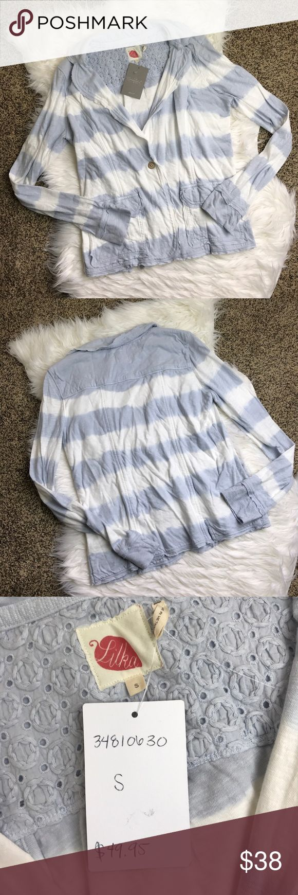 [Anthropologie] NWT Lilka Banded Stripe Blazer 'Lilka Banded Stripes Blazer'. Cute light blue and white blazer by lilka. Subtle tie-dye stripes and raw trim make this blazer so cute. The front has flap pockets. Soft jersey material. New With Tags. Anthropologie Jackets & Coats Blazers