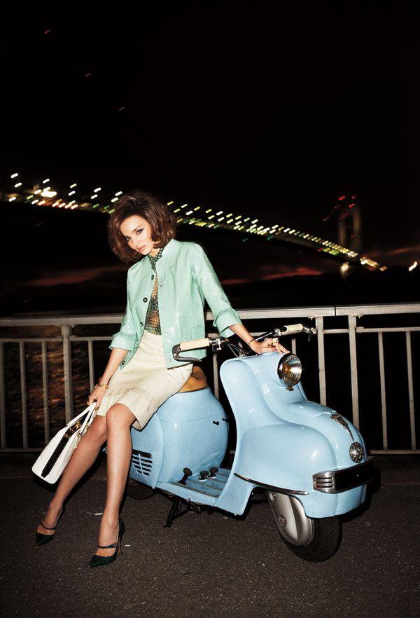 Miranda Kerr sits pretty on a retro motorcycle. Shot by Terry Richardson.    #harpersbazaar #editorial #fashion #fashionphotography