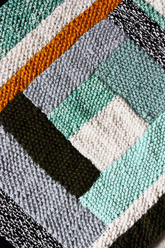 How To Knit Stitches On Scrap Yarn : PROJECT 2/30 : SEED STITCH SCRAP YARN BLANKET (Elise Blaha :: enJOY it.) Ya...
