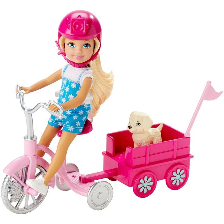 Have fun and adventures with Barbie Chelsea Doll with Puppy and Trike. Description from smythstoys.com.