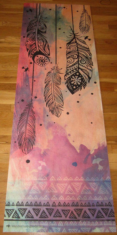 Printed yoga mat by vagabondyoga on Etsy