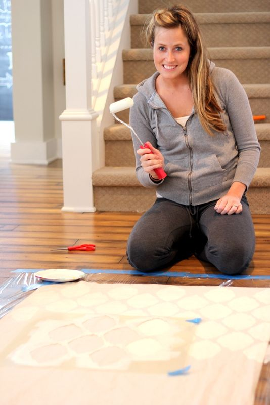 Painting curtains with Ikat all over wall and floor stencil from stencilease.com - Proverbs 31 Girl