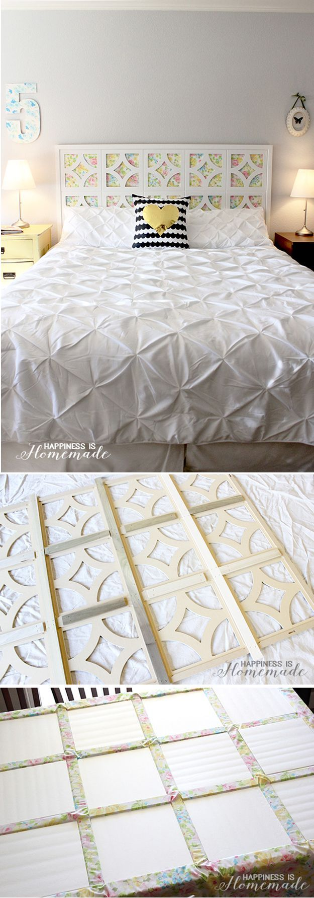 Cool and Simple Fabric Headboard | DIY Vintage Sheet Headboard by DIY Ready at http://diyready.com/diy-headboards-for-every-home/
